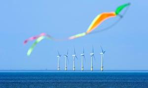 Wind turbines of North Hoyle offshore windfarm, at sea near Prestatyn, North Wales.