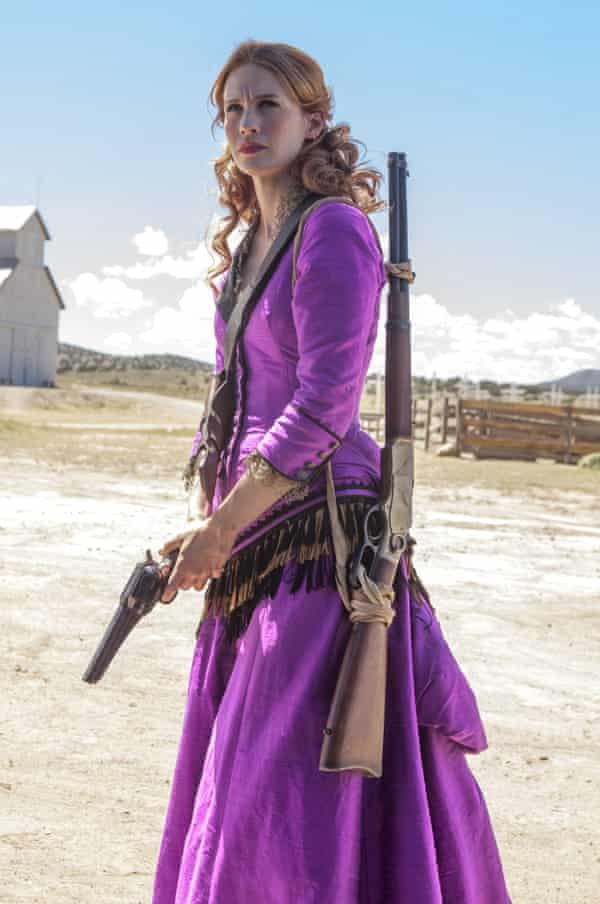 January Jones packs a pistol in Sweetwater: 'really convincing'.