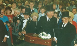 Mock funeral to mark the end of hot metal printing at the Guardian on 11 May 1987