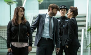Eve Myles, David Tennant and Lucy Cohu in the season two finale of Broadchurch. Copyright ITV/Kudos.
