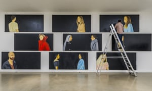 Alex Katz's Black Paintings exhibition is hung at Timothy Taylor Gallery, London.