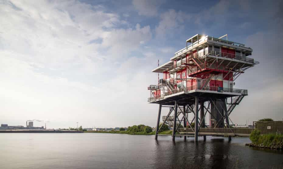 The REMeiland restaurant, an old helicopter landing platform, Amsterdam.