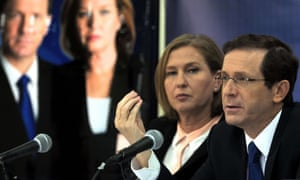 Tzipi Livni and Isaac Herzog, leaders of the Zionist Union party, at a recent press conference.