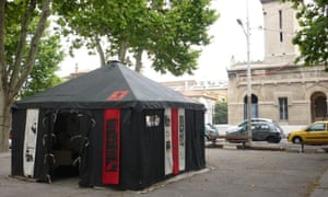 Pop-up tent outside Marseille's Grand Mosque site
