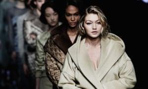 Model Gigi Hadid at the Max Mara show during Milan fashion week for autumn/winter 2015.