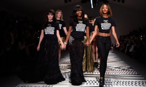 Annabelle Neilson, Naomi Campbell and Jourdan Dunn walk the runway at the Fashion For Relief show.