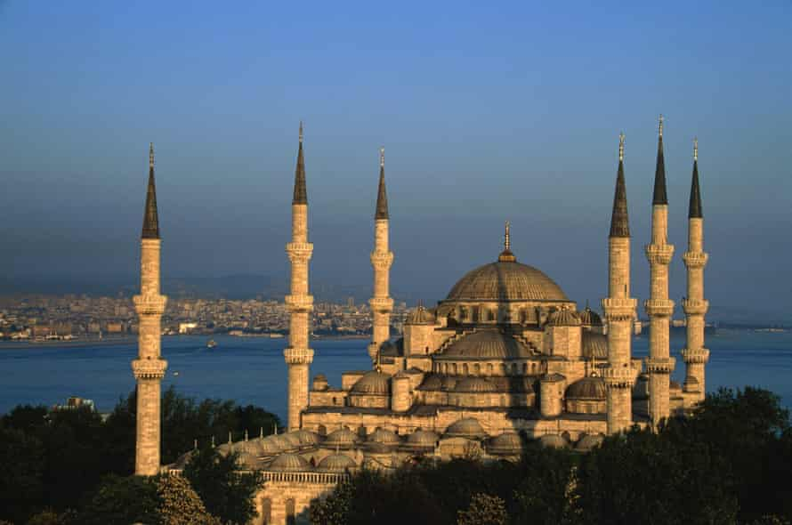 The Blue Mosque in Istanbul at sunset.