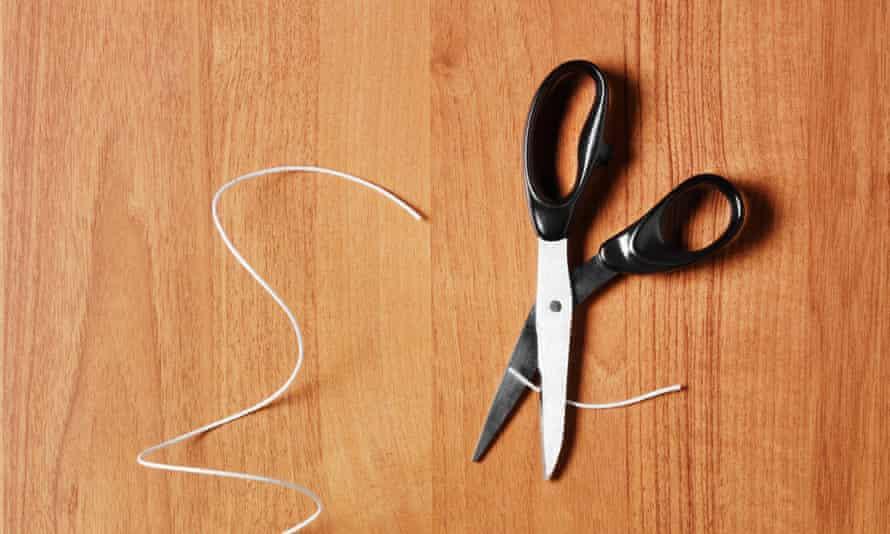 scissors cutting cable