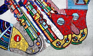 Detail of mosaics by Sir Eduardo Paolozzi at Tottenham Court Road underground station in London