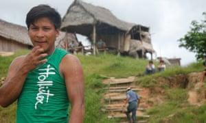 Matsés man Gerson Gomes Bina Mayuruna from Lobo village in Brazil.
