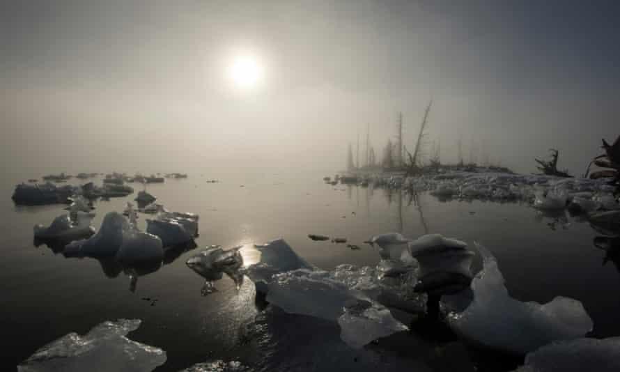 27 Feb 2014 --- Beached iceberg and fog at Pakenham Point, Prince William Sound, Alaska