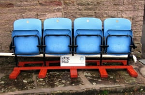The absence of Maine Rd stadium The fixtures and fittings from Maine Rd. Stadium, the old home of Manchester City FC, were auctioned off. An inn in the Peak District is the new home of these four seats