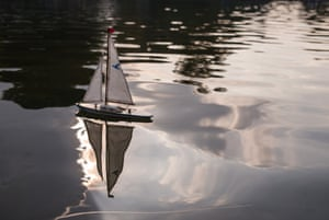 Absent crew A toy sailboat on a pond in Hamburg, a city whose harbour is brimming with ships of all shapes and sizes