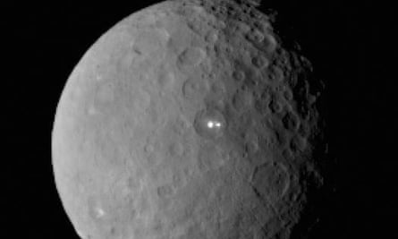 This image was taken by NASA's Dawn spacecraft of dwarf planet Ceres on Feb. 19 from a distance of nearly 29,000 miles (46,000 kilometers). It shows that the brightest spot on Ceres has a dimmer companion, which apparently lies in the same basin.Dawn is due to be captured into orbit around Ceres on March 6.