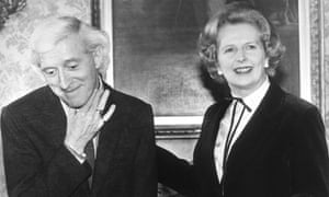 Jimmy Savile with the prime minister Margaret Thatcher in the same year she appointed him as a fundraiser for Stoke Mandeville hospital, where he sexually abused people as young as eight.