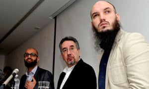 L to R: Asim Qureshi of Cage, John Rees of Stop the War Coalition and Cerie Bullivant answer questions at a press conference about Mohammed Emwazi.