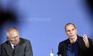 Germany's finance minister, Wolfgang Schäuble, left, and his Greek counterpart Yanis Varoufakis at a joint press conference following their meeting on 5 February 5, 2015 in Berlin.