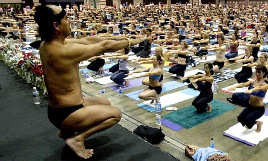 Bikram Choudhury leading a yoga class in 2003.