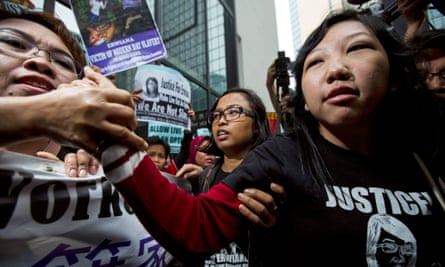 Erwiana Sulistyaningsih outside the district court in Hong Kong.