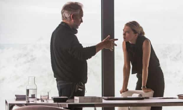Lea Seydoux and Sam Mendes on the set of Spectre