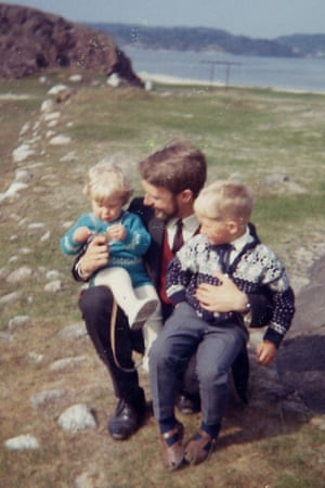 Karl Ove Knausgaard (left) with his father and older brother Yngve, circa 1970.