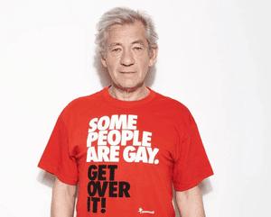 Sir Ian McKellen wearing a Stonewall t-shirt