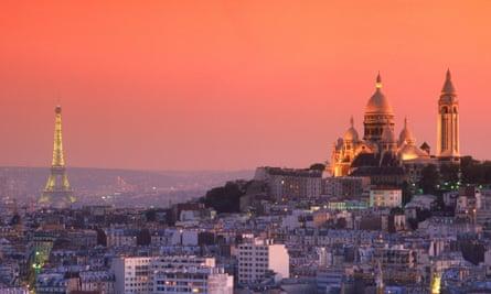 The Paris skyline at dusk.