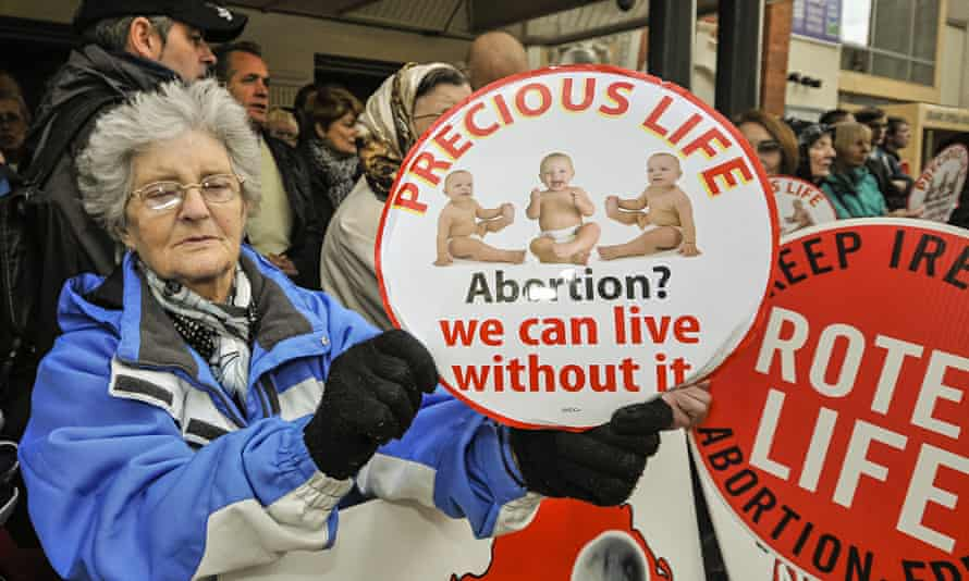 Protests outside an abortion clinic in Belfast, Northern Ireland