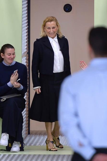 Italian designer Miuccia Prada takes a bow