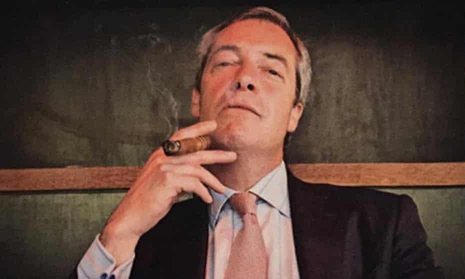 Nigel Farage posing with cigar
