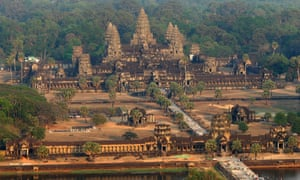 Aerial view of the Angkor Wat temple in Siem Reap province.