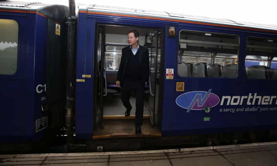Nick Clegg visits Sheffield train station on Thursday.