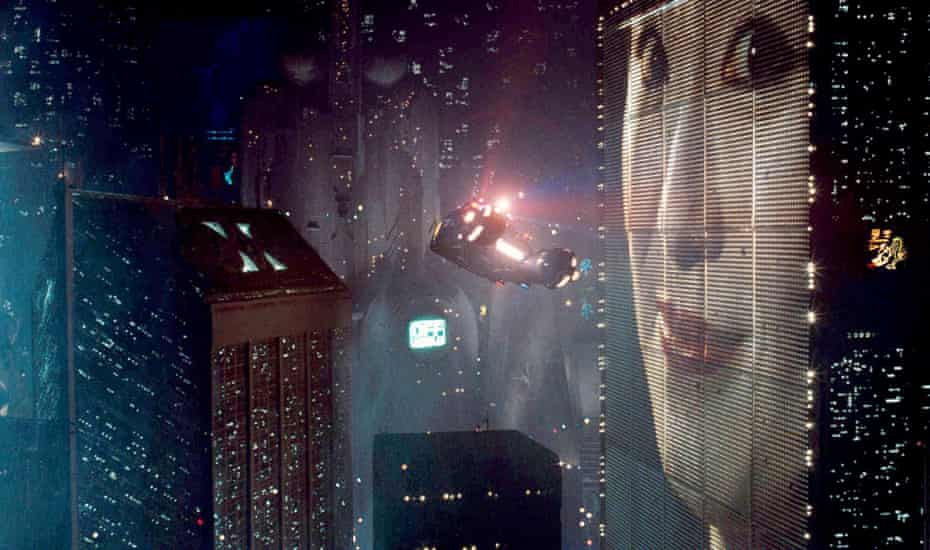 Flying cars and giant video billboards in Blade Runner.