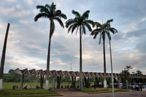 A line of Toblorone-shaped pavilions of the KNUST stadium in Kumasi, Ghana. By KNUST Development Office, 1964-1967