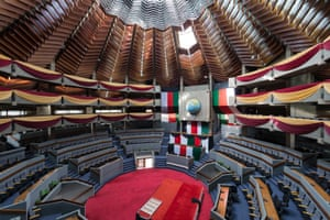 The lily-bud shaped auditorium in the Kenyatta International Conference Centre. The 32 storey venue was tripled in height after the World bank decided to host its annual meeting in Nairobi in 1973