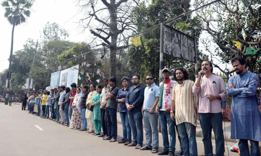 Social activists, bloggers and writers attend a protest demanding the arrest of Avijit Roy's killer.