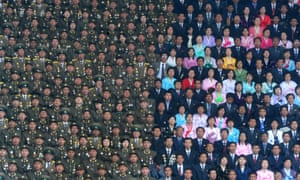 North Korean Army soldiers and civilians on the stands of the Kim Il Sung Stadium, a photograph by Ilya Pitalev which won at the Sony World Photography Awards in 2013.
