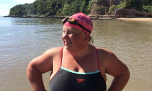 Sally Goble swimming in Jacksons Bay in Wales