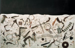 Night Experiment, c.1959. Paint, plaster, and various objects on plywood.