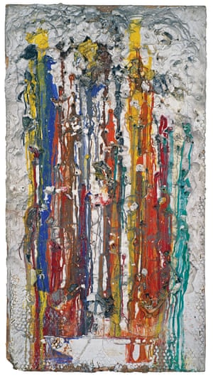 Grand Shoot - J Gallery Session (Grand Tir - Séance galerie J), 1961. Paint, plaster, and various objects on conglomerate panel.