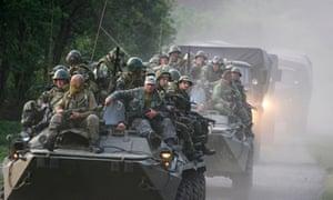 Russian troops heading toward the border of Georgia, August 2008.Photograph: Vladimir Popov/AP