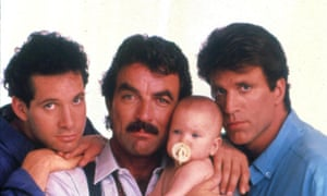 Steve Guttenberg, Tom Selleck, Ted Danson in Three Men and a Baby.