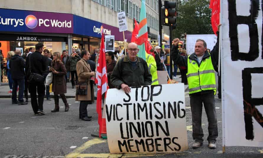 Unite union members protest against blacklisting in 2012