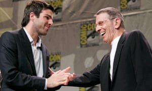 "<strong>2007 </strong>Actor Zachary Quinto with actor Leonard Nimoy at a Paramount Pictures panel discussion on the upcoming ""Star Trek"" feature film at Comic Con in San Diego, CA"