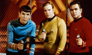 Leonard Nimoy, left, as Spock in the original series of Star Trek, with William Shatner as Kirk and James Doohan as Scotty.