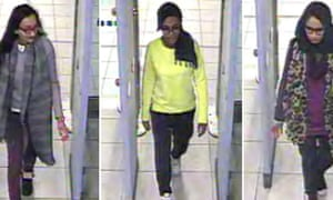 A composite handout of CCTV pictures from the Metropolitan police showing British teenagers (L-R) Kadiza Sultana, Amira Abase and Shamima Begum passing through security barriers at Gatwick Airport en route to Syria