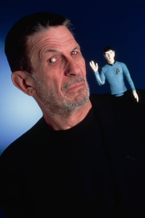 <strong>1995</strong> A portrait of Leonard Nimoy with a doll of his character Spock