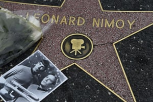 <strong>February 27, 2015</strong> Flowers and a photo are placed on the star of actor Leonard Nimoy on on the Hollywood Walk of Fame, in Hollywood, California. after he died at his home in the Bel Air. He was 83. The photo shows Nimoy as Spock and William Shatner as Captain Kirk in during their time in the classic television series.