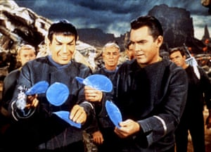 <strong>1965 </strong> Nimoy and Jeffrey Hunter starring in the pilot episode of Star Trek called The Cage.