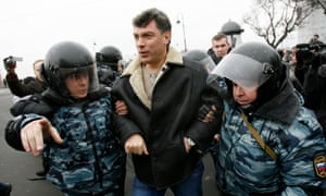 Police officers detain Boris Nemtsov during a rally against Vladimir Putin's government in St Petersburg in 2007.